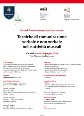 Corso di formazione per operatori museali Tecniche di comunicazione verbale e non verbale nelle attività museali