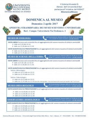 NUOVA APERTURA DEI MUSEI DELL'UNIVERSITÀ DI BARI  PER DOMENICA 2 APRILE 2017
