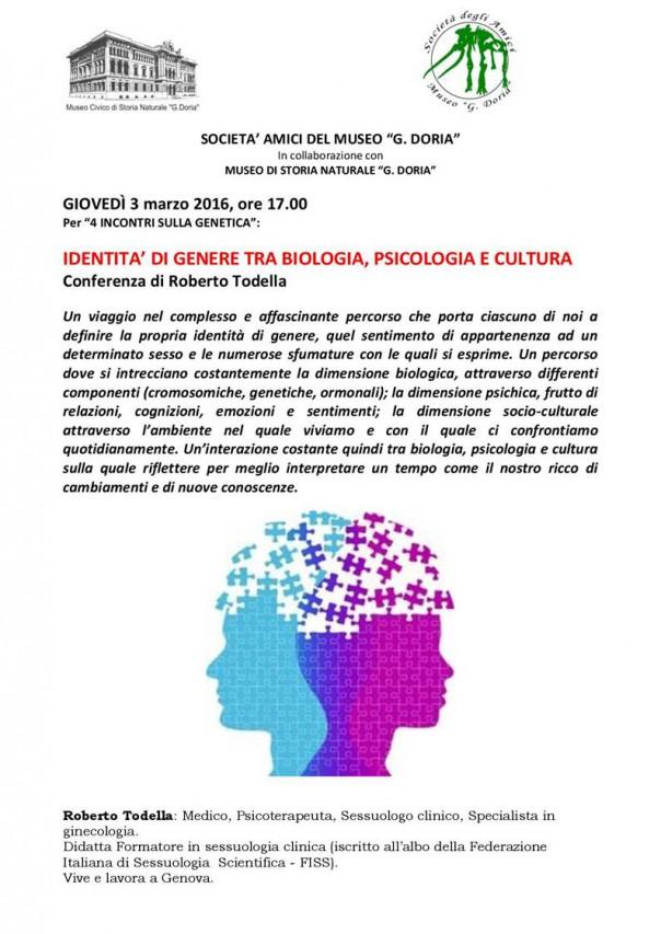 IDENTITA' DI GENERE TRA BIOLOGIA, PSICOLOGIA E CULTURA