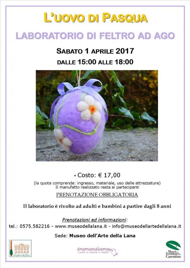 L'uovo di Pasqua - laboratorio di feltro ad ago
