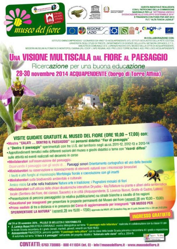 """SETTIMANA UNESCO ESS 2014: """"Una visione multiscala dal fiore al paesaggio. Ricerc-azione per una buona educ-azione"""""""