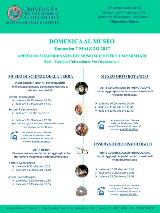 NUOVA APERTURA DEI MUSEI DELL'UNIVERSITÀ DI BARI  PER DOMENICA 7 MAGGIO   2017