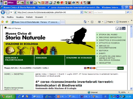 IV Corso riconoscimento invertebrati terrestri