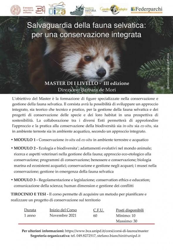 Master di I livello in Salvaguardia della fauna selvatica - UNIPD a.a. 2021/2022