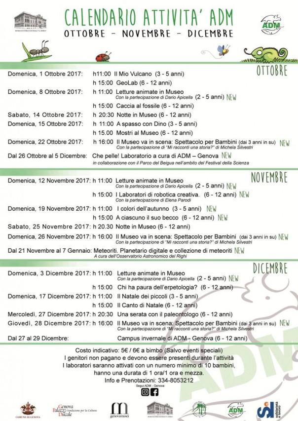 Calendario attività per bambini e famiglie (Ottobre - Dicembre 2017)