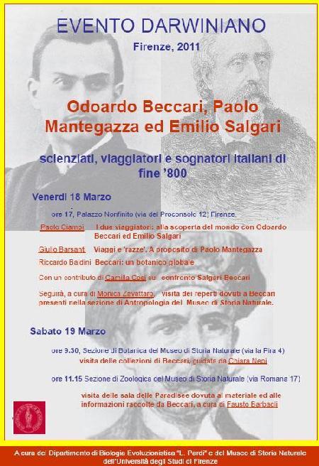 Odoardo Beccari, Paolo Mantegazza, Emilio Salgari:  scienziati, esploratori e sognatori italiani  della seconda metà dell?800 (conferenza)