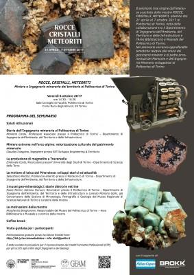 ROCCE, CRISTALLI, METEORITI. Miniere e Ingegneria mineraria dal territorio al Politecnico di Torino
