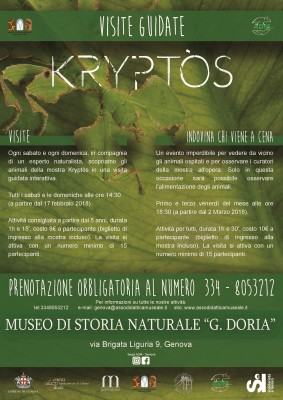 """MOSTRA KRYPTÒS E FESTE DI COMPLEANNO AL MUSEO CIVICO DI STORIA NATURALE """"G. DORIA"""""""