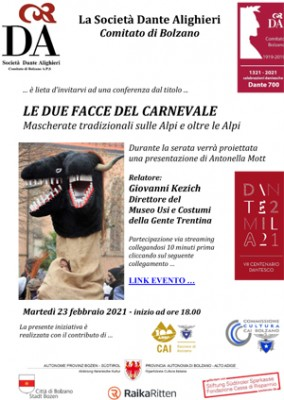 Le due facce del carnevale con la Società Dante Alighieri di Bolzano