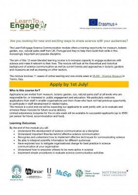 Apertura iscrizioni corso 'Science Communication' - Progetto Learn to Engage
