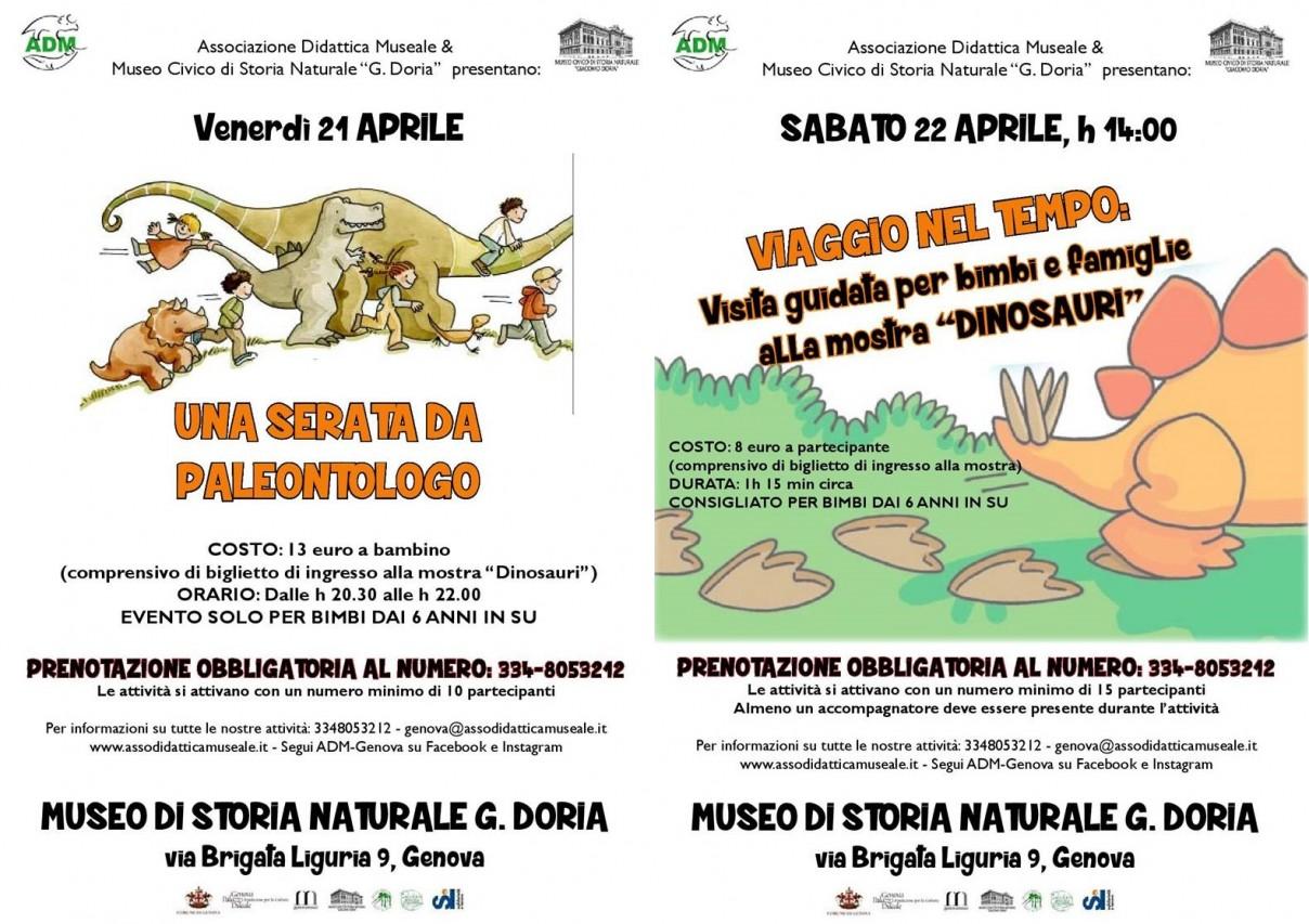 FINE SETTIMANA TRA I DINOSAURI ED APERTURE STRAORDINARIE MUSEO 24 E 25 APRILE 2017