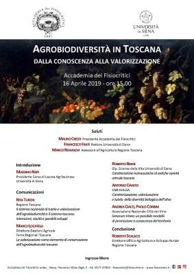 Agrobiodiversità in Toscana: convegno organizzato da Accademia dei Fisiocritici e Università di Siena