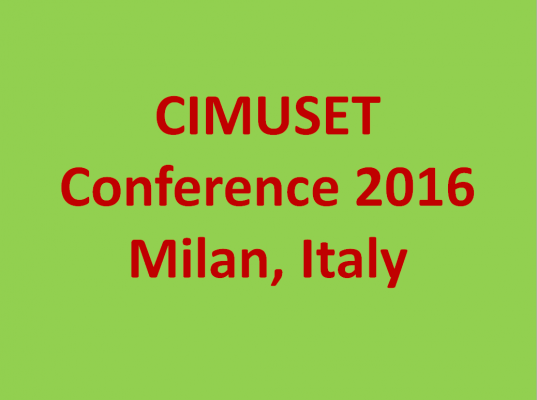 CIMUSET - Call For Papers   2016 Annual Conference   3 - 9 Luglio, 2016