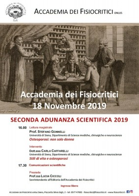 SECONDA ADUNANZA SCIENTIFICA CON LETTURA MAGISTRALE SULL'OSTEOPOROSI