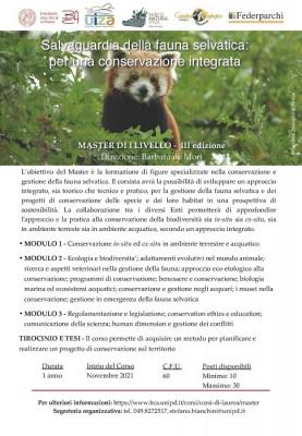Master di I livello UNIPD - Salvaguardia della fauna selvatica: per una conservazione integrata