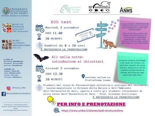 Due interessanti iniziative per la Settimana dei Mammiferi dal SiMA dell'Università degli Studi di Bari