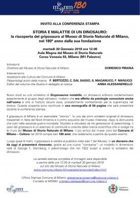 CONFERENZA STAMPA - STORIA E MALATTIE DI UN DINOSAURO: la riscoperta del griposauro al Museo di Storia Naturale di Milano, nel 180° anno dalla sua fondazione