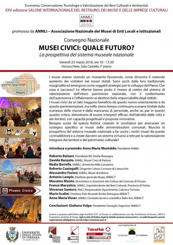 Convegno ANMLI al XXV Salone del Restauro, dei Musei e delle imprese culturali di Ferrara