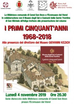 """Il libro """"I primi cinquant'anni 1968-2018"""" a Canal San Bovo"""
