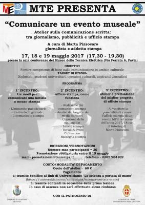 Comunicare un evento museale. Atelier sulla comunicazione scritta: tra giornalismo, pubblicità e ufficio stampa