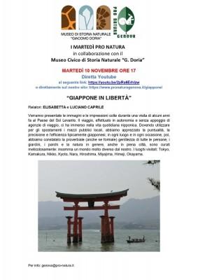 """Pro Natura Genova - Conferenza on line """"GIAPPONE IN LIBERTÀ"""""""