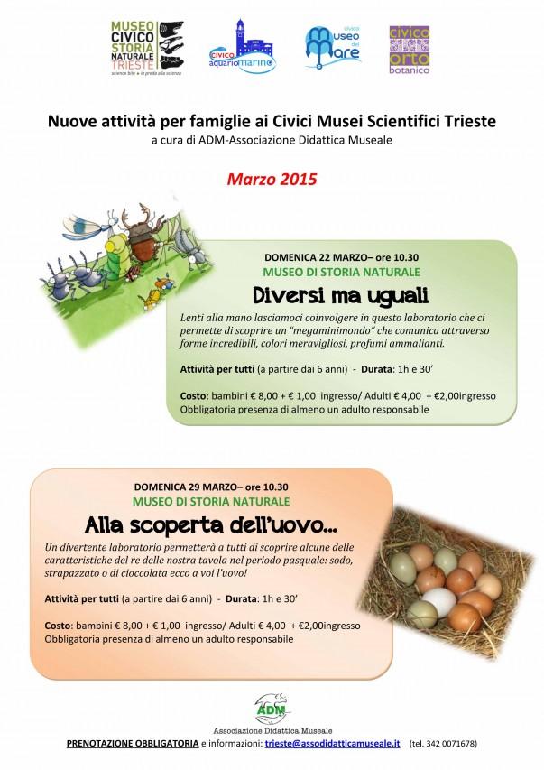 Nuove attività per famiglie ai Civici Musei Scientifici Trieste