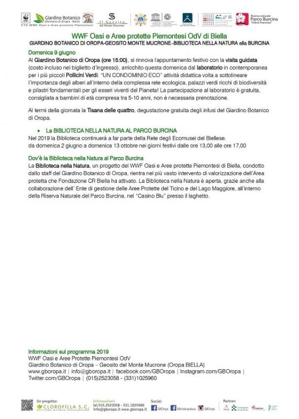 Prossime attività al GIARDINO BOTANICO DI OROPA-BIBLIOTECA NELLA NATURA alla BURCINA