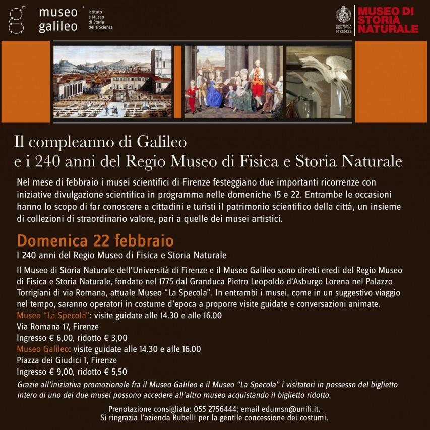 Il compleanno di Galileo e i 240 anni del Regio Museo di Fisica e Storia Naturale