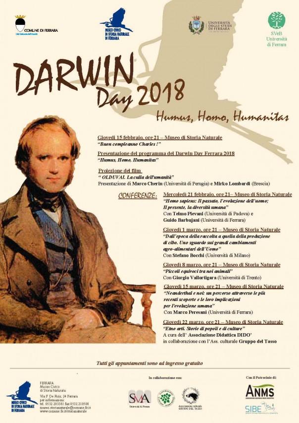 DARWIN DAY 2018: HUMUS, HOMO, HUMANITAS