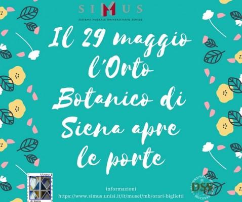Il 29 Maggio l'Orto Botanico di Siena apre le porte