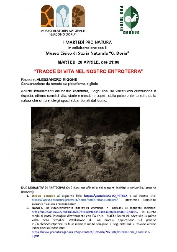 TRACCE DI VITA NEL NOSTRO ENTROTERRA. Conferenza a cura di Pro Natura Genova